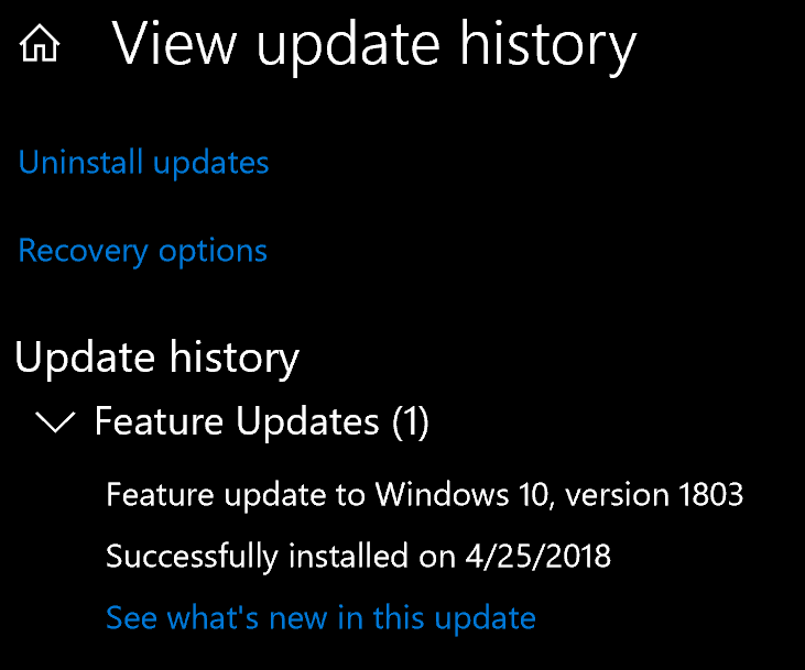 Windows 1803 release